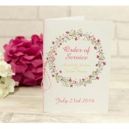 Floral Wreath Wedding - PINK - order of service booklets x 50