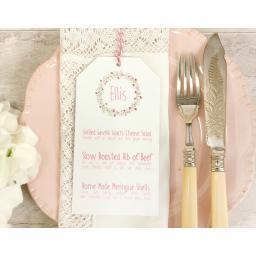 Floral Wreath - PINK wedding menu tags