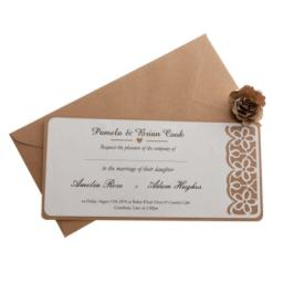 White card (on Brown) kraft card wedding Invitations - FLORAL LASER CUT ( DL size) x 25