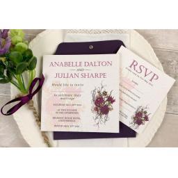 Botanical plum flower Wedding Invitation - full set x 25