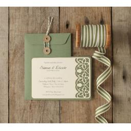 Floral Laser cut Invitations - (A6 size) x 25 (string tie envelopes)