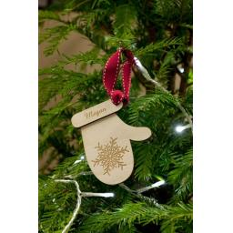 Wooden Personalised Mitten with Snowflake tag