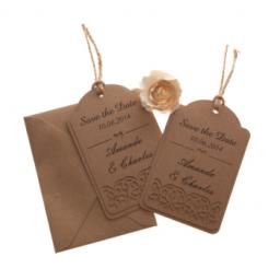 Brown kraft card on Brown Save the date luggage tags FLORAL CUT x 25