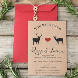 Modern Stag Invitations and string tie envelopes x 25