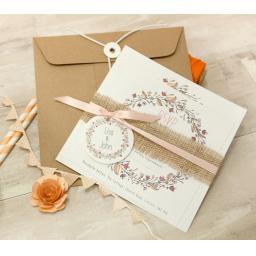 Floral Wreath Wedding Invitation PEACH - full set x 25 (1)
