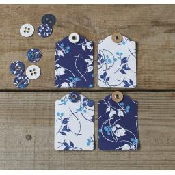 Liberty China Printed Small Tags x 10 with Navy & White Twine