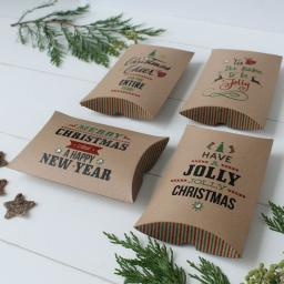 Large Printed Pillow Boxes x 4 (Mixed Christmas)