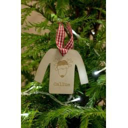 Wooden Personalised Jumper with Rudolf
