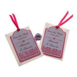 Pale Lilac on Shocking pink card save the date luggage tags FLORAL CUT x 25