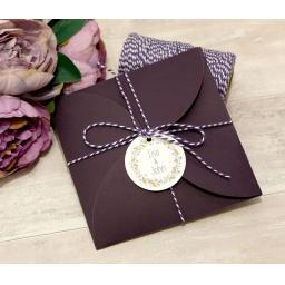 Floral Wreath PLUM invitations and petal wallet set - full set x 50