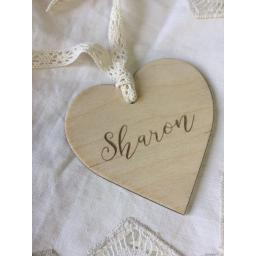 Wooden personalised heart