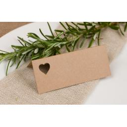 Laser Cut HEART Table place cards -all colours