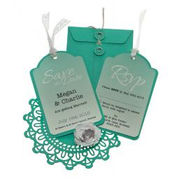 Aqua Save the Date Luggage tags and Envelopes x 25 (OMBRE RANGE)