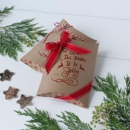Large Printed Pillow Boxes x 2 (RED Christmas)