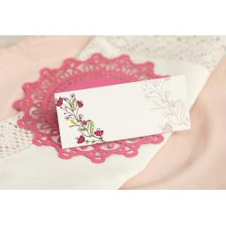 Floral Wreath Wedding - PINK place cards x 50