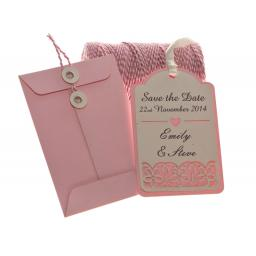 Pale Pink SAVE THE DATE luggage tags FLORAL CUT x 25 with String tie Envelopes