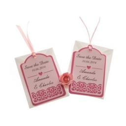 SAVE THE DATE luggage tags FLORAL CUT x 25