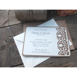 Floral Laser cut Invitations - (A6 size) x 25 (plain envelopes)