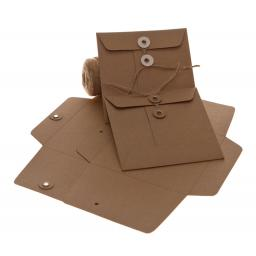 String Tie BROWN KRAFT Envelopes 155mm square x 25