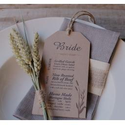 Wheatgrass Wedding Menu tags