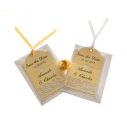 Pale Lemon and White save the date luggage tags FLORAL CUT x 25