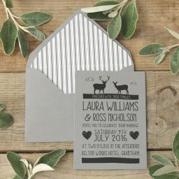Whimsical Stag Invitations and envelopes x 25