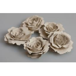 Handmade Recycled Vintage Cream Paper Flower Kit ( pack of 5 flowers)