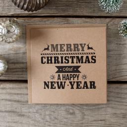 Brown Kraft Christmas Cards - Black Print Set