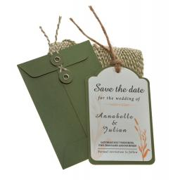 Peach & Sage Save the Date tags + Envelopes x 25 ( Wheatgrass Range)