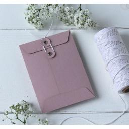 C6 BLUSH PINK String Button Envelopes x 25