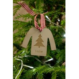 Wooden Personalised Jumper with Christmas Tree