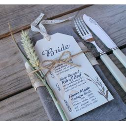 Wheatgrass Wedding Menu tags