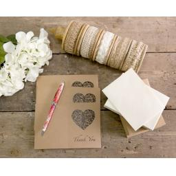 Vintage Heart Collection - thank you cards - pack of 50 with matching envelopes
