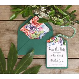 Botanical Blooms Save the Date Luggage Tags and Envelopes x 25 (colour set 2)
