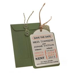 Peach & Sage Save the Date tags + Envelopes x 25 ( Vintage Range)