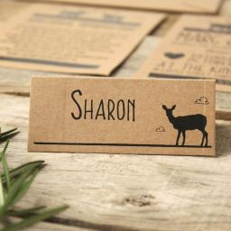 Modern stag place Cards x 50 (personalised)