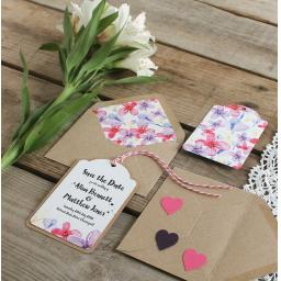 Watercolour pastel Save the Date Luggage Tags and Envelopes x 25 (colour set 2)