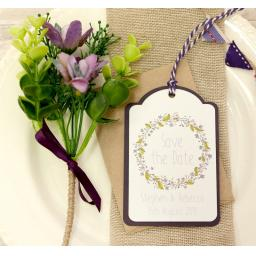 Floral Wreath Wedding PLUM and Brown Kraft Save the Date Luggage Tags and Envelopes x 25