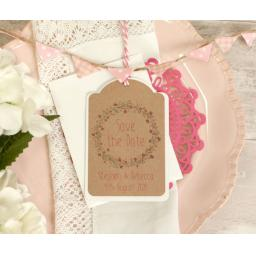 Floral Wreath Wedding PINK and Brown Kraft Save the Date Luggage Tags and Envelopes x 25