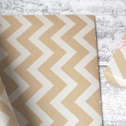 Kraft & White Chevron Design Wrapping Paper