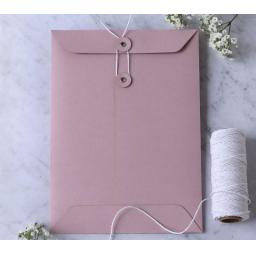 C5 BLUSH PINK String Button Envelopes x 25
