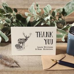 Vintage stag - thank you cards - pack of 50 with matching envelopes