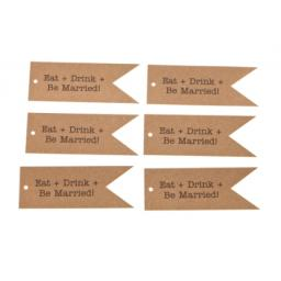 Brown kraft flag tags x 50 - EAT DRINK & BE MARRIED