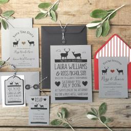 Whimsical stag RSVP cards and plain Envelopes x 25