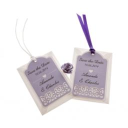 Pale Lilac on white card save the date luggage tags FLORAL CUT x 25