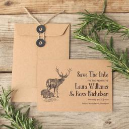 Vintage Stag Save the Date cards and string tie envelopes x 25