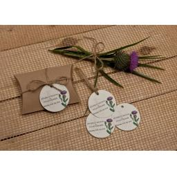 Botanical Thistle personalised gift tags x 50