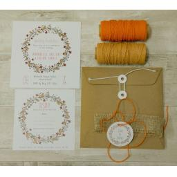 Floral Wreath Wedding Invitation PEACH - full set x 25