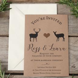 Modern Stag Invitations with plain envelopes x 25