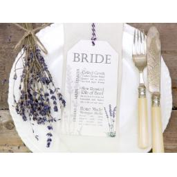 Lavender Wedding Menu Tags